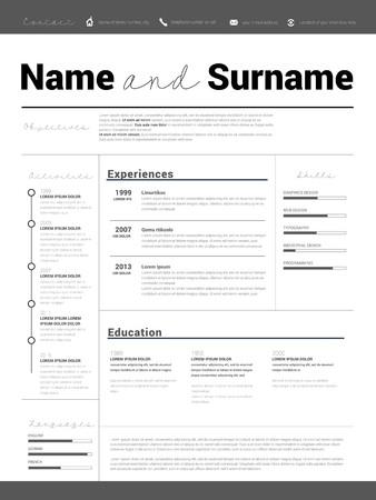 sample: Resume Minimalist CV, Resume template with simple design, company application CV, Curriculum vitae, resume business sheet, clean employer resume Illustration