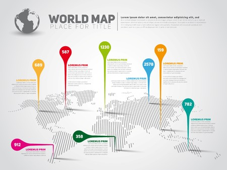 Simple World map infographic communication template with pointer marks, light vector version Ilustrace
