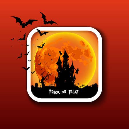 icom: Happy Halloween icon button, Mix of Various Spooky Creatures, Moon and Castle, Vector Illustration Illustration