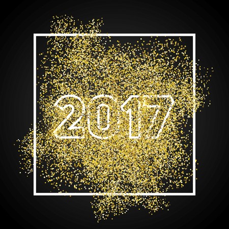 Happy new year 2017. Gold glitter New Year. Gold background for flyer, banner, web, header, poster, sign. Abstract background for text, quote. Dark background