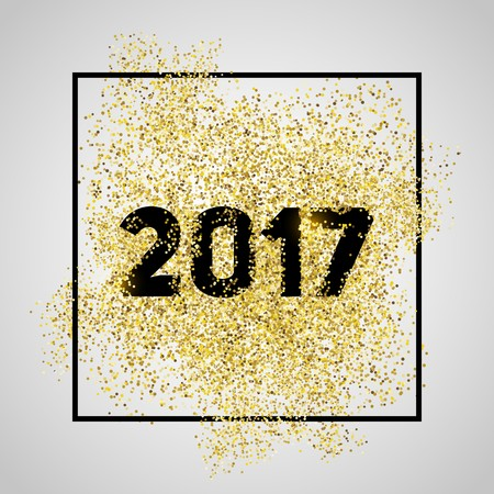 Happy new year 2017. Gold glitter New Year. Gold background for flyer, banner, web, header, poster, sign. Abstract background with frame for text, quote.