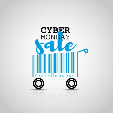 Cyber monday simple card desing with shopping cart barcode. Sale concept.