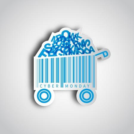 Cyber maandag eenvoudige kaart desing met het winkelwagentje barcode op papier sticker. Verkoop concept.