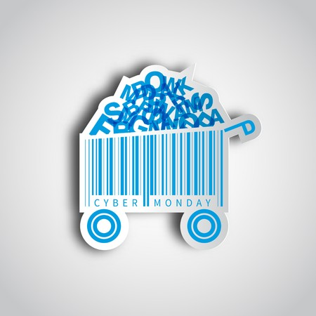 Cyber monday simple card desing with shopping cart barcode in paper sticker. Sale concept. Çizim