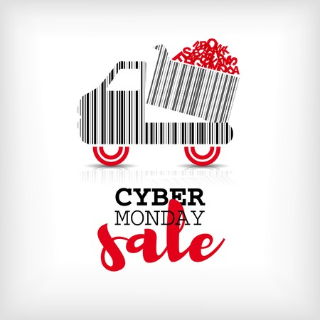 Cyber monday design with shopping truck barcode. Sale concept.