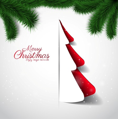 twigs: Merry Christmas paper tree design greeting card, xmas card with spruce twigs Illustration