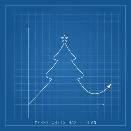 Merry Christmas illustration card. Tree drawing blueprints on a blue background