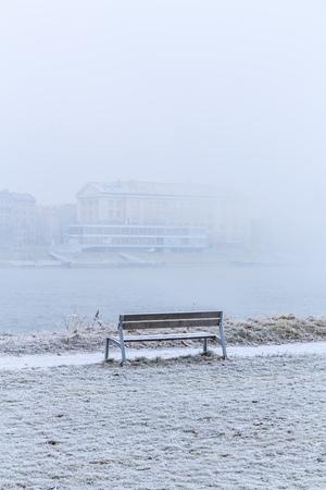 Bench in the Promenade near Danube river in Bratislava, Capital city of Slovakia 免版税图像