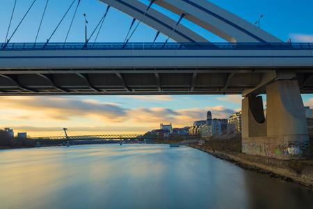Vie from Appolo bridge near harbour, Bratislava castle, river Danube, Slovakia