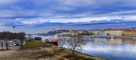 Bratislava castle, st. Martins church and Danube river, blue winter morning, Slovakia