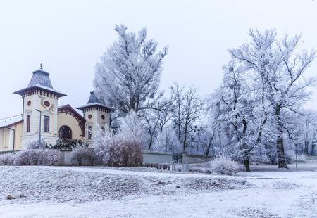 Theatre Arena near park Sad Janka Krala, Winter mood, Bratislava, Slovakia
