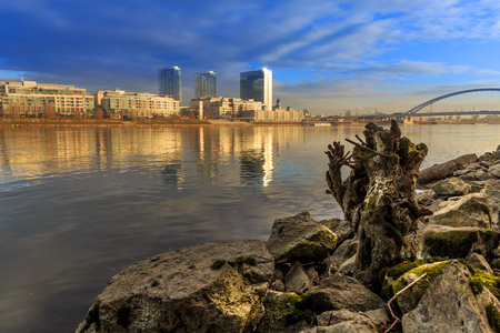 Bratislava modern skyscapers, near Danube river, winter morning, Slovakia