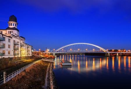 Apollo bridge in Bratislava, Harbour building, Slovakia Stock Photo