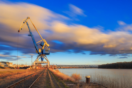 Crane in Harbour on river Danube, Bratislava city, Slovakia