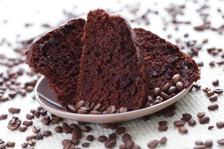 cafe y pastel: delicioso chocolate y tarta de caf� - alimentos dulces Foto de archivo