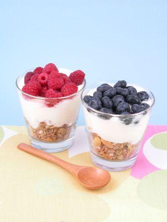 delicious low-calorie breakfast - berries yogurt and musli Stock Photo - 467086