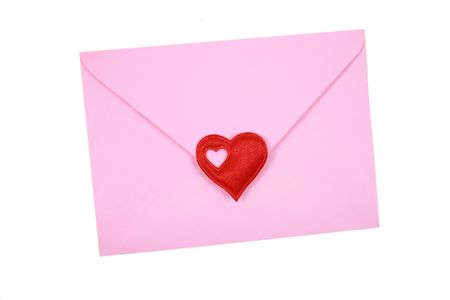 pink envelope with red heart isolated on white Stock Photo - 730630