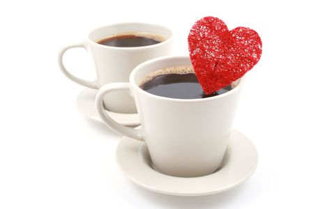 two cups of coffe with red heart isolated on white Stock Photo - 742928