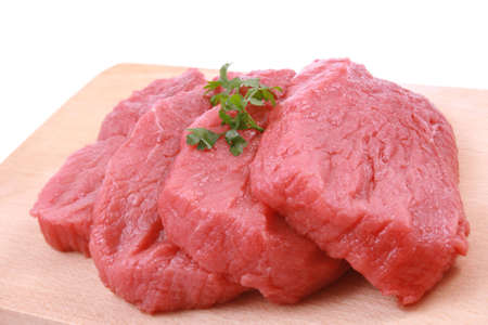 fresh beef on board ready to cook isolated on white Stock Photo - 818314