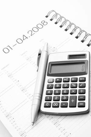 year planner - calculator pen and calendar - finance Stock Photo - 831690