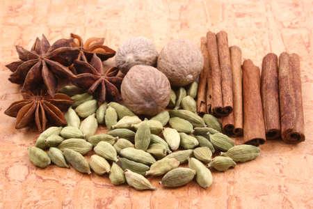 closeups: close-ups of various spices - nutmeg cinnamon cardamom anise
