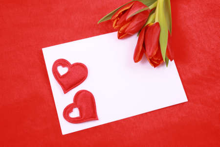 leave a romantic message - paper tulip and red heart Stock Photo - 960844