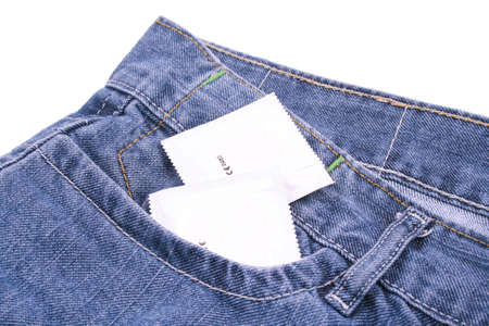 close-ups of jeans pocket with condom photo