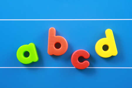 colorful letters on blue board - education concept Stock Photo - 961775