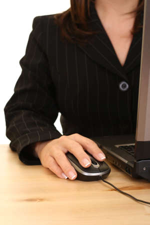 close-ups of mouse and woman hand - computer work photo