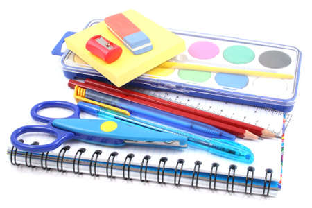 school notebook: school supplies - pen pencil copy-book isolated on white Stock Photo