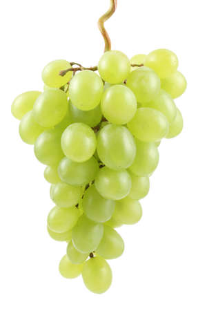 bunch of fresh green grapes isolated on white