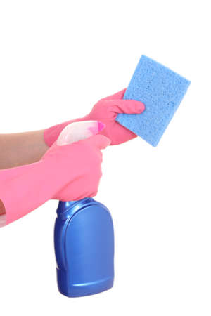 cleaning products: close-ups of hands in gloves with cleaning products