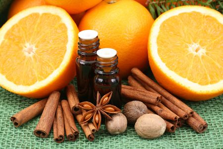 aromatherapy - perfect for winter time - oil and oranges