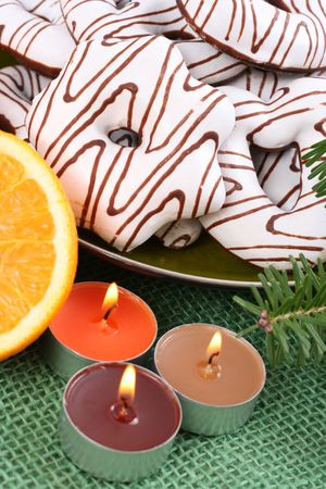 delicious gingerbreads orange and Christmas decoration Stock Photo - 2247644