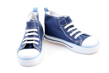 pair of blue sneakers isolated on white Stock Photo - 3048112