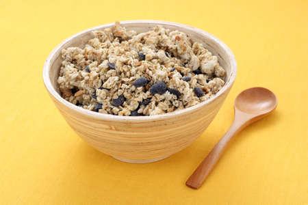 musli: bowl full of chocolate musli - healthy breakfast