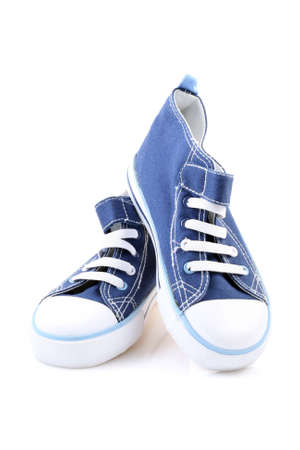 pair of blue sneakers isolated on white Stock Photo - 3140490