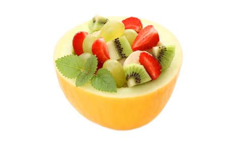 fruity salad in cantaloupe isolated on white Stock Photo - 3175263
