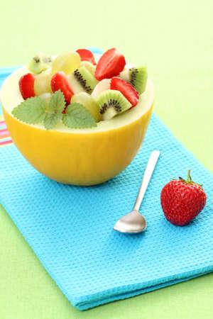 fruity salad in cantaloupe - delicious dessert Stock Photo - 3224775
