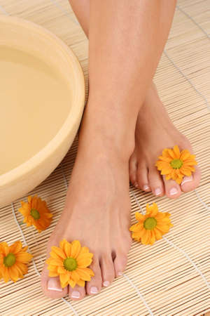 beautiful leg - beauty treatment - bowl of pure water photo