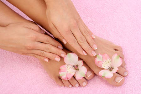 close-ups of beautiful female legs and hands - beauty treatment Stock Photo