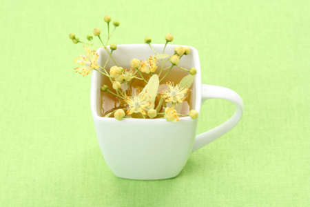 cup of tea and linden flowers on green photo