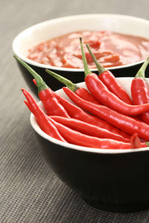 hot salsa mexicana with fresh chili peppers photo