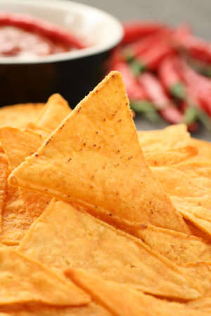 tortilla chips with hot salsa mexicana - party food photo