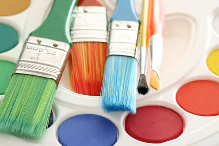 watercolour paints and lots of brushes - art and craft Stock Photo - 3441519