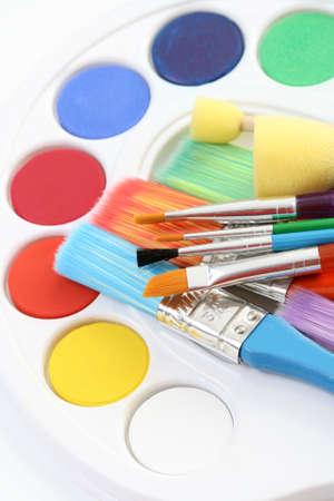 watercolour paints and lots of brushes - art and craft Stock Photo - 3441510