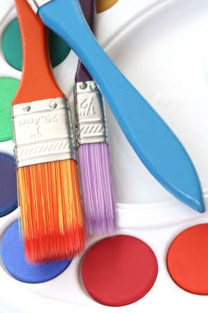 watercolour paints and lots of brushes - art and craft Stock Photo - 3441514