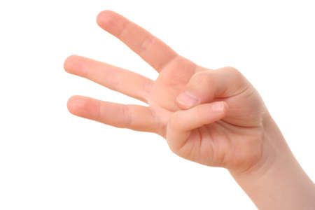 hand counting - three fingers of kid's hand isolated on white Stock Photo - 3472503
