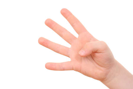 hand counting - four fingers of kid's hand isolated on white Stock Photo - 3472500