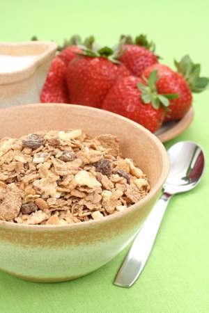 musli: bowl full of musli and fresh fruits - healthy breakfast Stock Photo